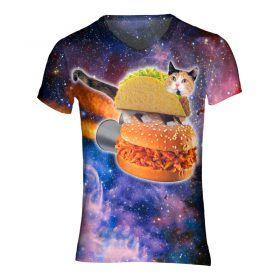 Festival shirt met bacon als raket met een kat in een taco