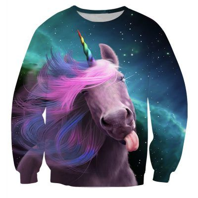 Foute kleding met regenboog eenhoorn die je een lik geeft