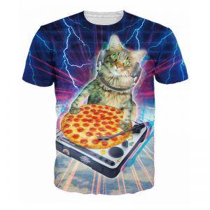 DJ pizza kat is een kat die een pizza op een platsenspeler heeft liggen