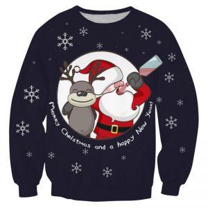 Foute kersttrui met dronken kerstman en rendier in het rood