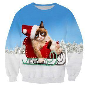 Foute kersttrui met grumpycat op een slee