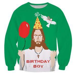 Foute kersttrui met jarige jezus