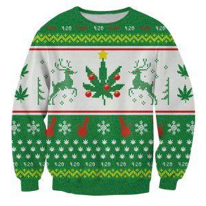 Foute kersttrui met wiet, 4:20 blaze it marihuana lovers