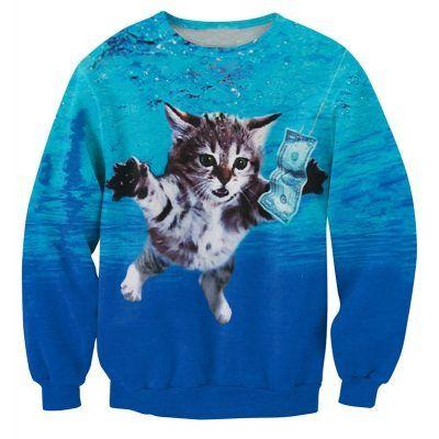 kattentrui met nirvana thema en kat die zwemt