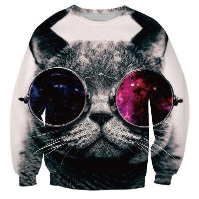 Foute trui met kat die galaxy zonnebril op heeft