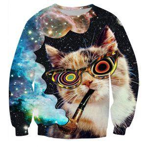 foute trui met een kat die een galaxy pijp rookt