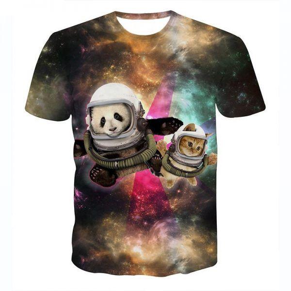 festivalshirt met kat in de ruimte en een panda