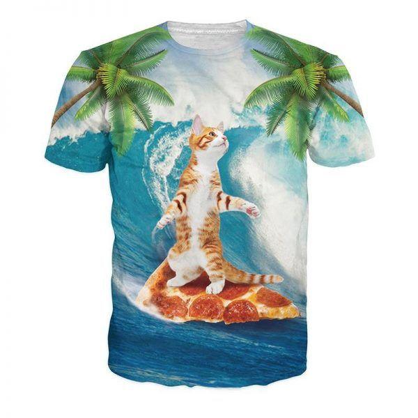festivalshirt met een kat die op een pizza aan het surfen is