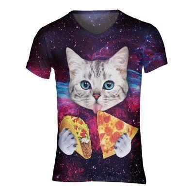 Festivalshirt met een taco en een pizza etende kat. perefect voor elke festival outfit
