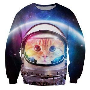 foute trui met een kat die een astronauten helm op heeft
