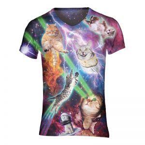fout kattenshirt met katten die lazers uit de ogen schieten en vuur uit de kont hebben
