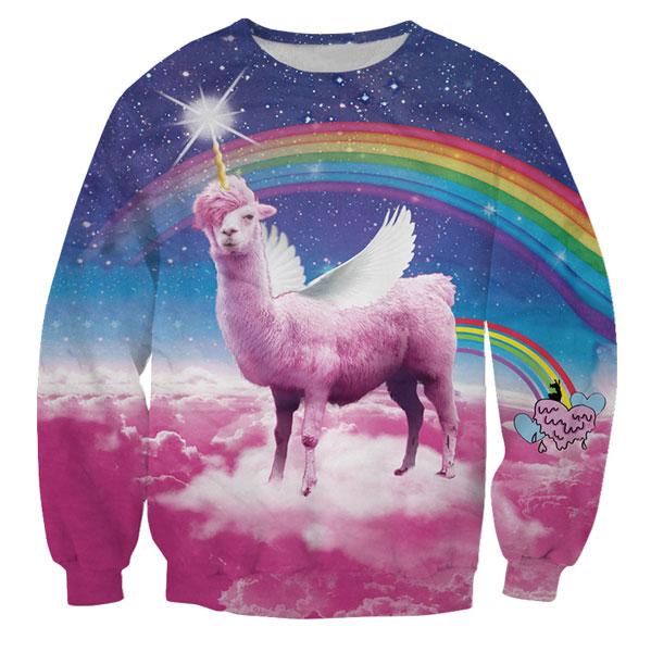elke festival outfit maak je compleet met de swag lama regenboog foute trui