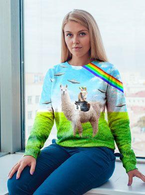 Foute trui met lama kat regenboog en ufos superfout