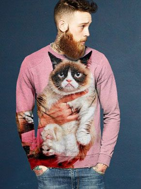 roze grumpycat foute trui voor mannen