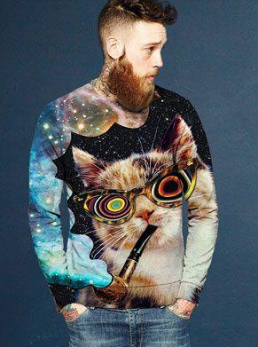 foute trui met kat die pijp rookt en galaxy print uitblaast