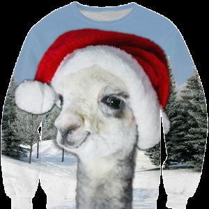 Perfecte foute kersttrui met lama